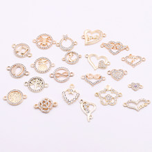 Hot 10pcs Gold Heart Shaped Connectors Charms with Rhinestone Animal Round Connectors Accessories for Jewelry Making For Sale(China)