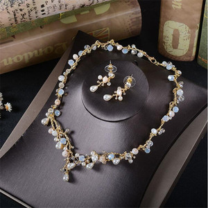 Image 2 - CC wedding Jewelry necklace stud earring sets party engagement accessories for bridal women pearl shine crystal luxury TL201