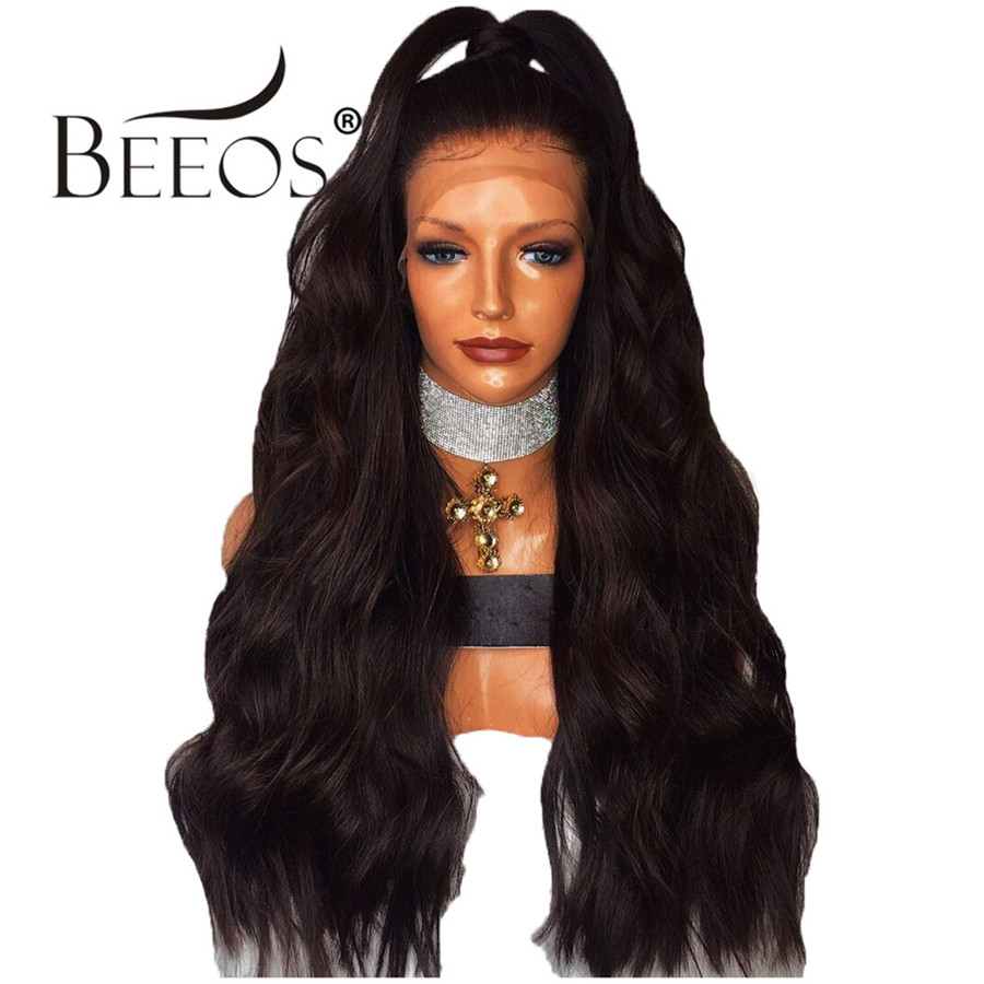 Beeos 250% Glueless Full Lace Human Hair Wigs Middle Part Wavy Wig with Baby Hair Brazilian Remy Hair Pre Plucked Bleached Knots