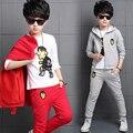 Los Niños de China Fábricas de Ropa Muchachos de la Venta de Primavera Casual Pantalones de la Camisa Capa 3 Unids Ropa Set niños Ropa de Navidad Regalos