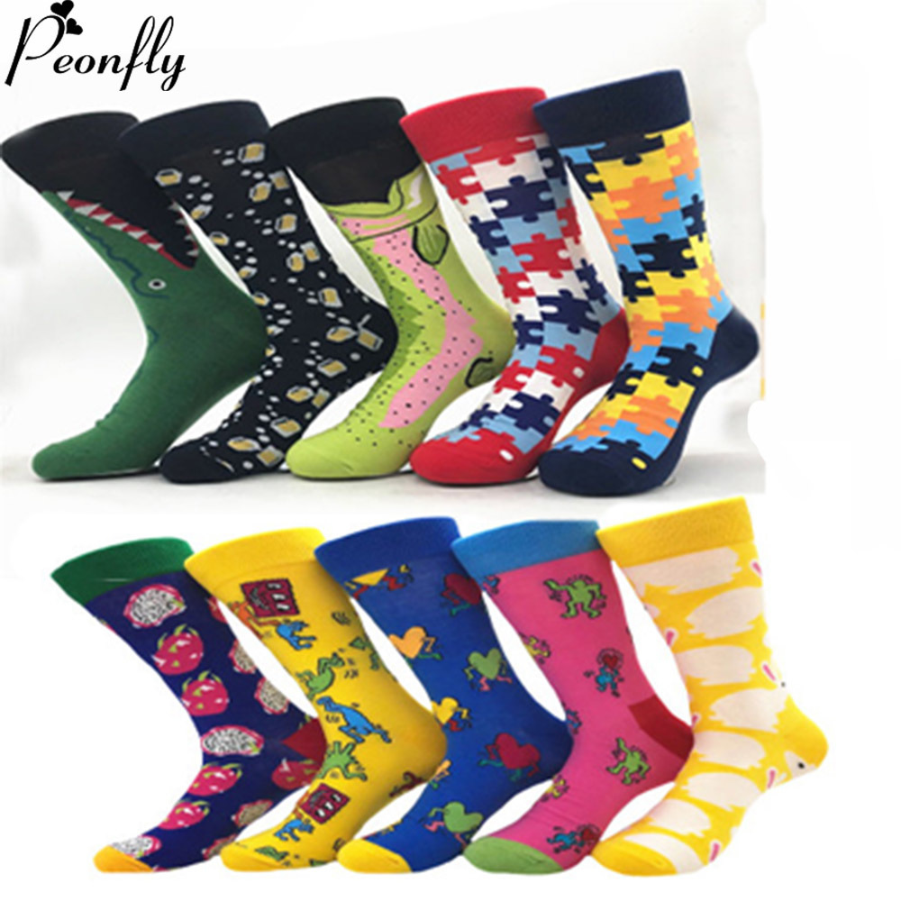 PEONFLY 10Pairs/Lot Neutral Lot Socks Happy British Style Skateboard Hip Hop Funny Socks Unisex Crew Socks Calcetines Hombre