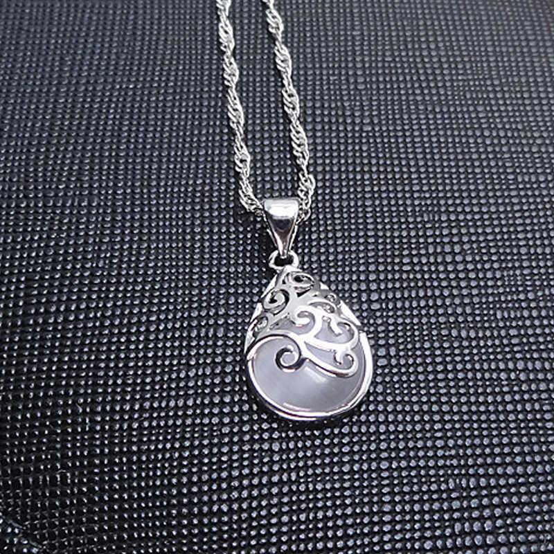 925 スターリングシルバー月光オパール涙ペンダントネックレスギフトファッション中空アウトデザイン女性チョーカーネックレスビジュー