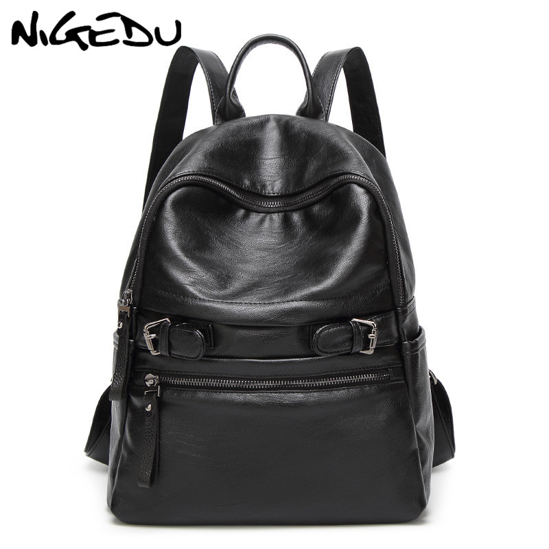 Large Capacity Women Backpack High Quality Soft Pu Leather School Bags For Girls Teenagers Female Backpacks Black Travel bags miyahouse new fashion pu leather backpack women school bags for teenagers girls travel backpack female high quality shoulder bag