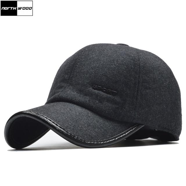 NORTHWOOD  Brand Warm Winter Baseball Cap Men Casquette Homme Snapback Hat  With Earflap Gorras 8ea98282f40