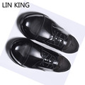 LIN KING Spring Autumn Leisure Men Business Dress Pu Patent Leather Shoes Fashion Lace Up Ankle Boots Low Top Men Wedding Shoes