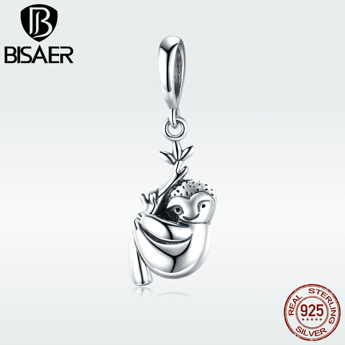 Bisaer Charms 925 Sterling Silver Animal Sloth Flash Pendant Charm For Jewelry Making 3mm Snake Bracelet Fashion Hsc866 In Beads From