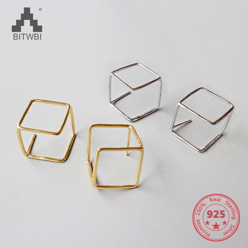 100% S925 Sterling Silber Ohrring Mode Einfache Geometrische Platz Hohlen Baumeln Ohrringe Dauerhafter Service