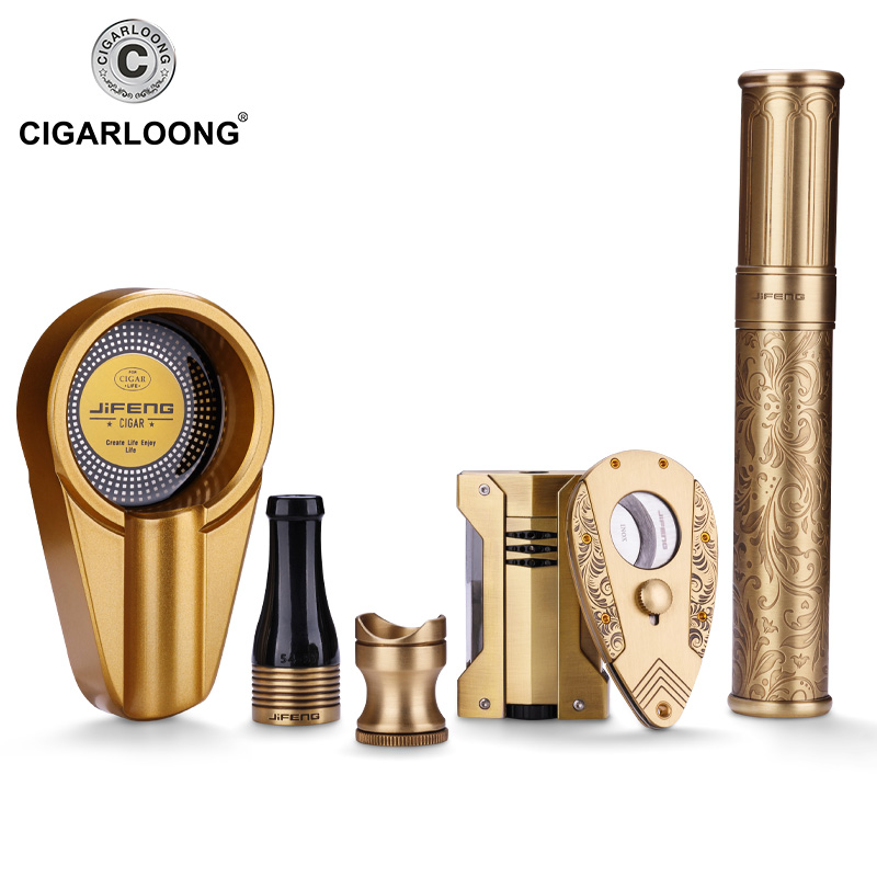 CL-TZ115 cigar ashtray metal stainless steel cutter holder case rest Mouthpiece touch lighter gift set CL-TZ115 cigar ashtray metal stainless steel cutter holder case rest Mouthpiece touch lighter gift set