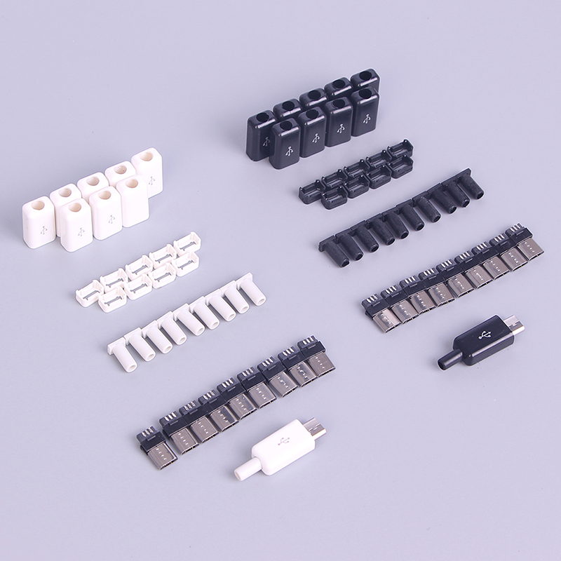 10pcs Sets DIY Micro USB Welding Type Male 5 Pin Plug Connector wPlastic Cover whiteblack