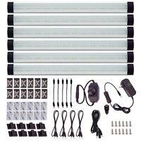 Sous Au-dessus Du Cabinet LED Puck Lumières Kit Barre Rigide avec Cadran Gradateur pour Meubles Décoration Intérieure Éclairage (6 Panneaux)