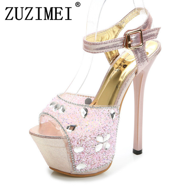 Steel Tube Dancing Shoes Women 2018 Summer New High Heel Peep Toe Sandals  18cm Thick the Bottom Waterproof 8.5cm Nightclub Shoe 9446e249cd72