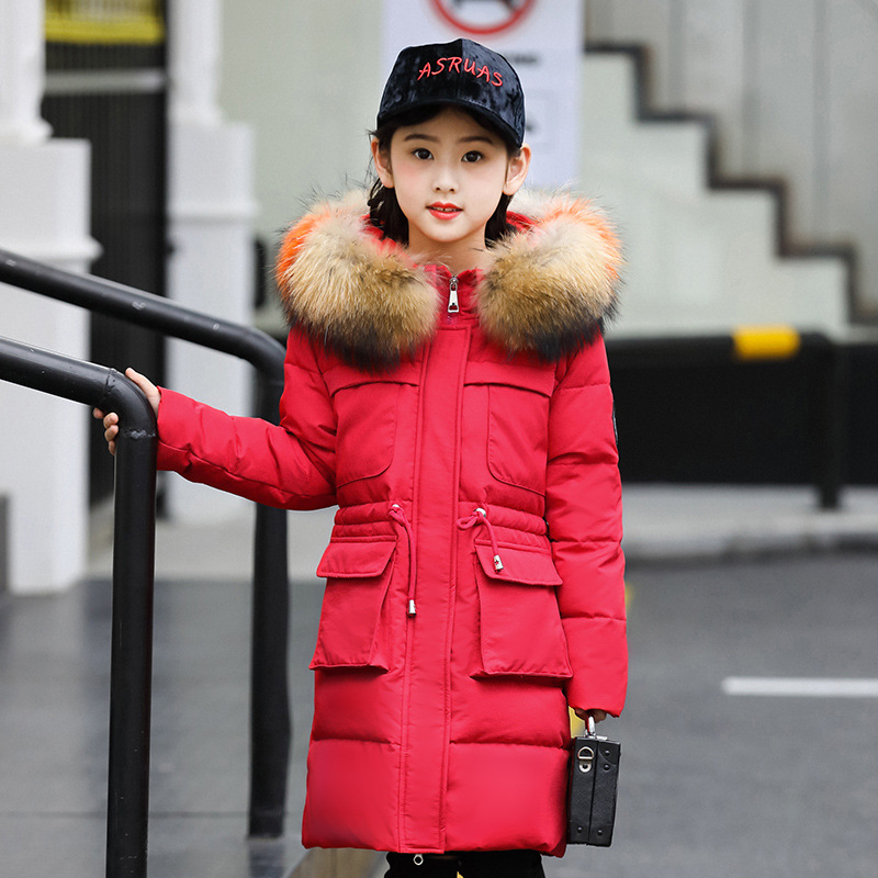 цена на down jacket winter new style Zhongda children, long hair, big hair collar, thickened white duck down girl winter coat.