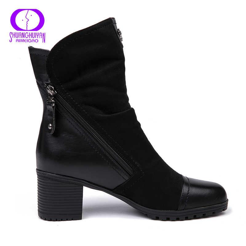 AIMEIGAO Yeni Varış Yüksek Topuklu çizmeler Kadın Süet Deri siyah çizmeler Çift Zip Kısa Peluş Yüksek Kaliteli Kadın Ayakkabı