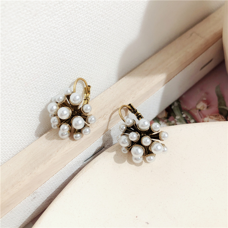 Korean Vintage Fashion Earrings For Women Lady Elegant Simulated Pearl Ball Pendientes Statement Jewelry Bijoux in Drop Earrings from Jewelry Accessories