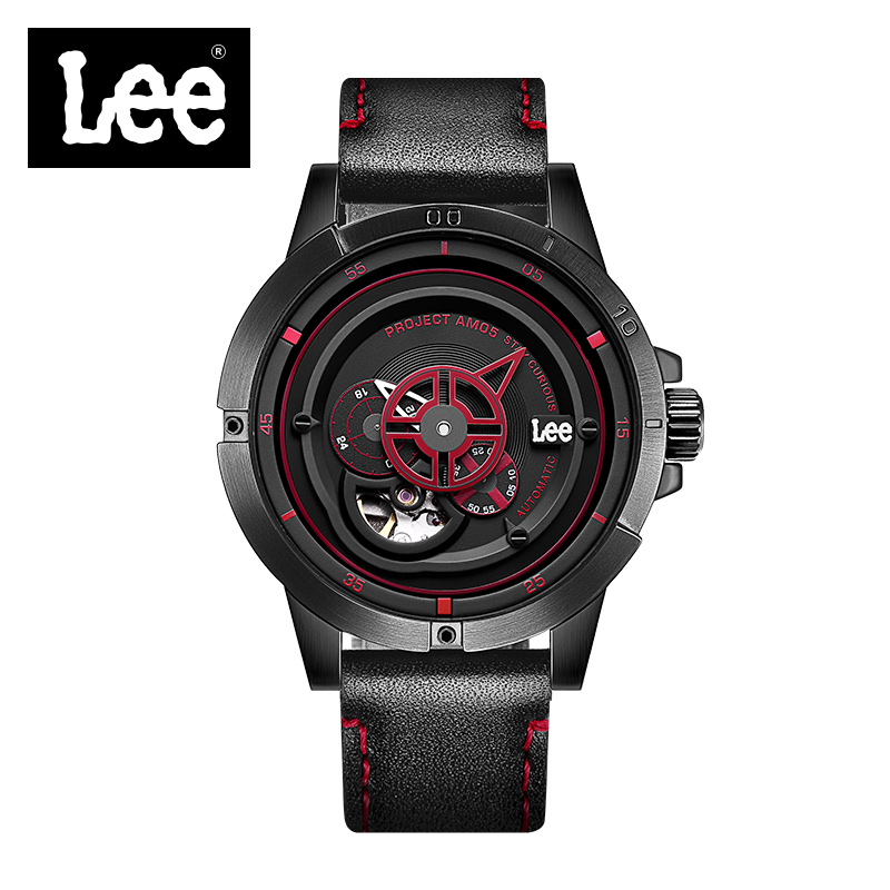 Lee Sports Mens Watches Top Brand Luxury Waterproof Watch Men Mechanical Automatic Wristwatch Skeleton Leather Stainless Strap