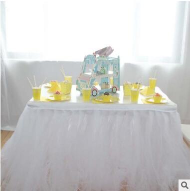 2017 Creatieve Wegwerp Servies Sets Geel Kant Serie Wegwerp Papieren Borden Tafel Rok Cupcake Stand Event Party Supply Aangenaam Om Te Proeven
