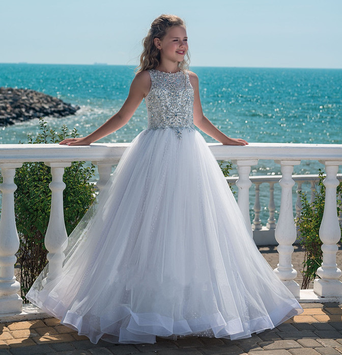 New Sparkly Crystals Silver Beading   Flower     Girl     Dress   for Wedding O Neck Puffy Tulle Dot Netting   Girls   Pageant   Dress   Custom Made