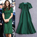 Новое поступление с коротким рукавом платья женщин бесплатная доставка леди платья кейт миддлтон платье зеленый элегантный midi платье полиамид-хлопок
