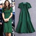 Nueva llegada de manga corta vestidos de las mujeres vestidos libres de la señora kate middleton vestido verde elegante midi vestido de poliamida de algodón