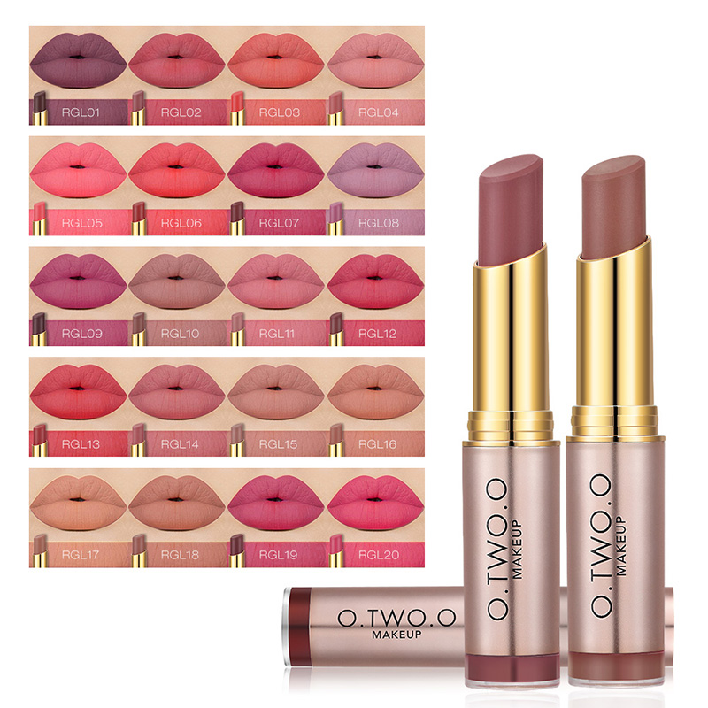 O.TWO.O 20Colors Matte Lipstick Lips Makeup Makeup Long Lasting Kissproof Lip Gloss Lipstick Best Selling Clearance Cosmetics