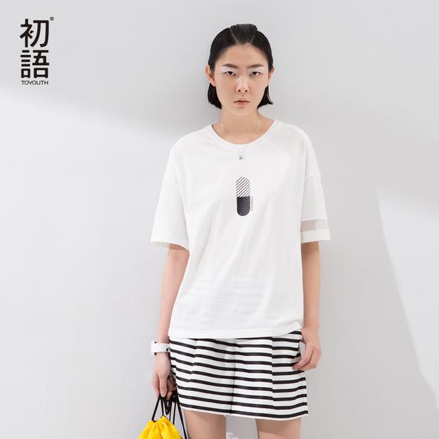 Toyouth 2017 das mulheres novas do verão meia manga o-pescoço t-shirt ocasional tees partes superiores das senhoras oco out manga comprida sólidos camisetas