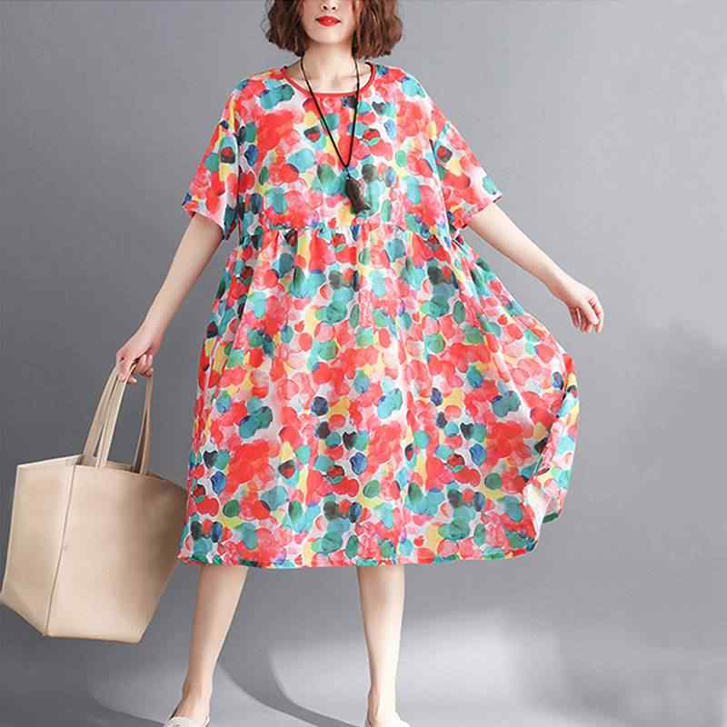 05c311c9e822 ... Mferlier Women Summer Colorful Dot Print Chiffon Dress O Neck Short  Sleeve High Waist Female Loose ...