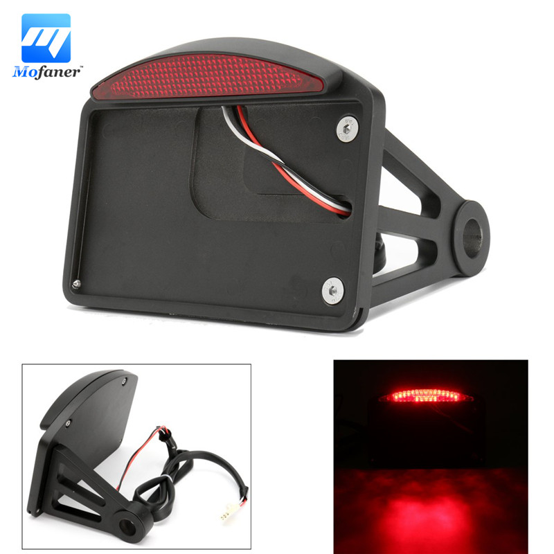 Motorcycle License Plate LED Tail Light Horizontal Side Mount Bracket Black