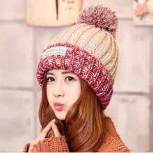 2016  Winter casual warm Knitted Cap for women Fashion Skullies & Beanies High quality Cute Best gift lady