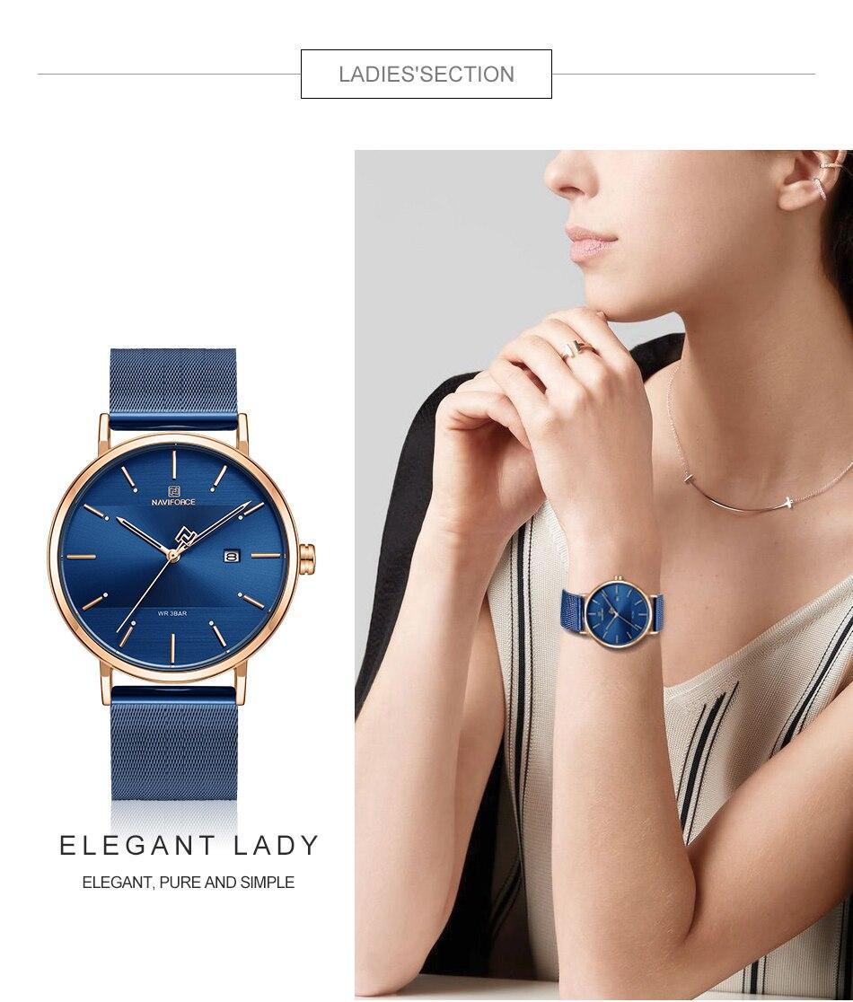 NAVIFORCE New Stylish Women Watches Top Brand Luxury Stainless Steel Strap Quartz Wristwatch For Woman Bracelet Watch 2019 Gift (2)