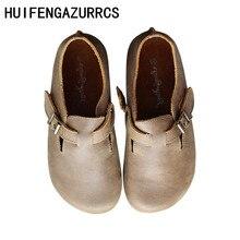 HUIFENGAZURRCS-Genuine leather shoes,Original handmade shoes round head flat heels retro shallow buckle women's single shoes