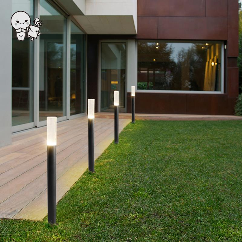 Outdoor 43/60/78cm Aluminum Acrylic LED Lawn Lamp Fixture Waterproof Minimalist Simple Contemporary Tall Ground Standing Light