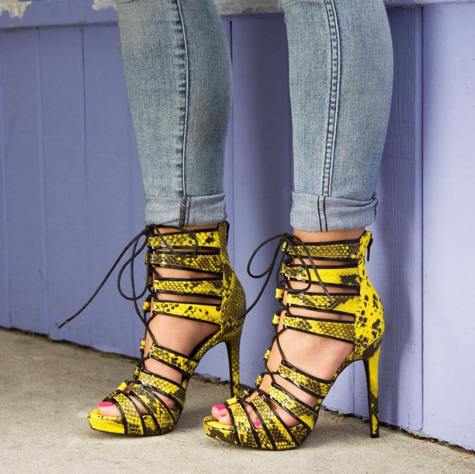 Yellow Strappy Heels Promotion-Shop for Promotional Yellow Strappy ...