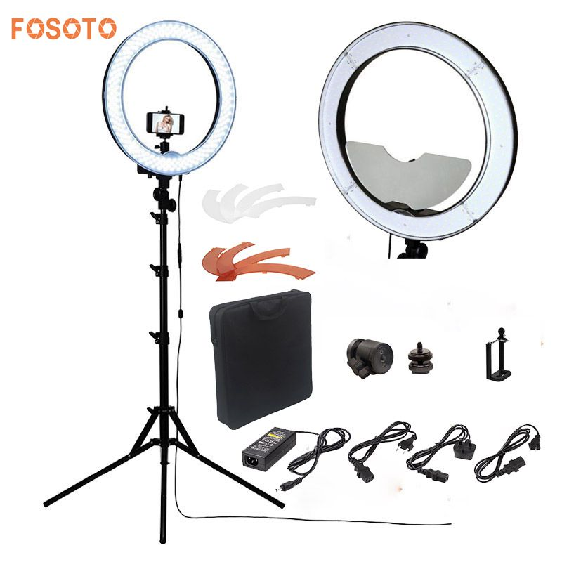 fosoto Camera Photo/Studio/Phone/Video RL-18 55W 240 LED Ring Light 5500K Photography Dimmable Ring Lamp With Mirror/Tripod ashanks 55w 5500k ring light with stand 240 led photographic lighting dimmable camera photo studio phone video photography lamp