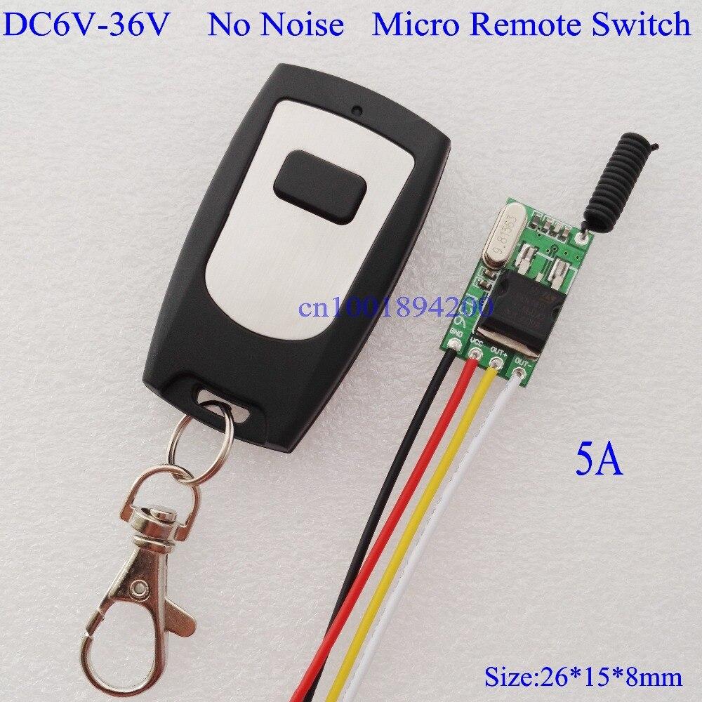 MICRO Interruptor de Controle Remoto Sem Fio RF Mos Nenhum Som Receptor De Entrada Saída DC6V-36V DC6V-36V Aprendizagem Código Momentary Alternar