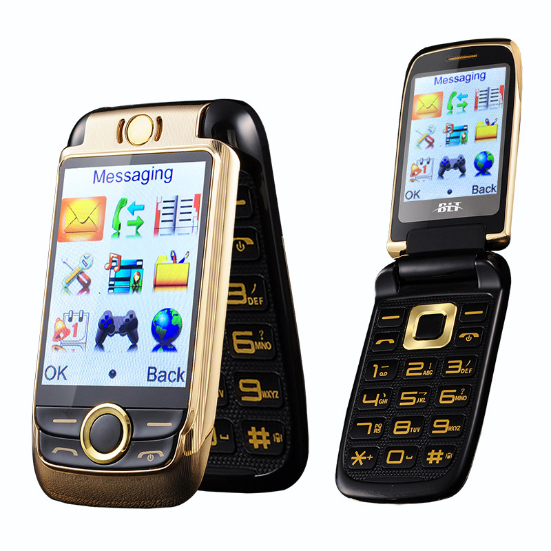 Senior Flip Dual Screen  Mobile Phone Double Two Screen Touch Screen Cell Phone Vibration Dual SIM Magic Voice Russian Language