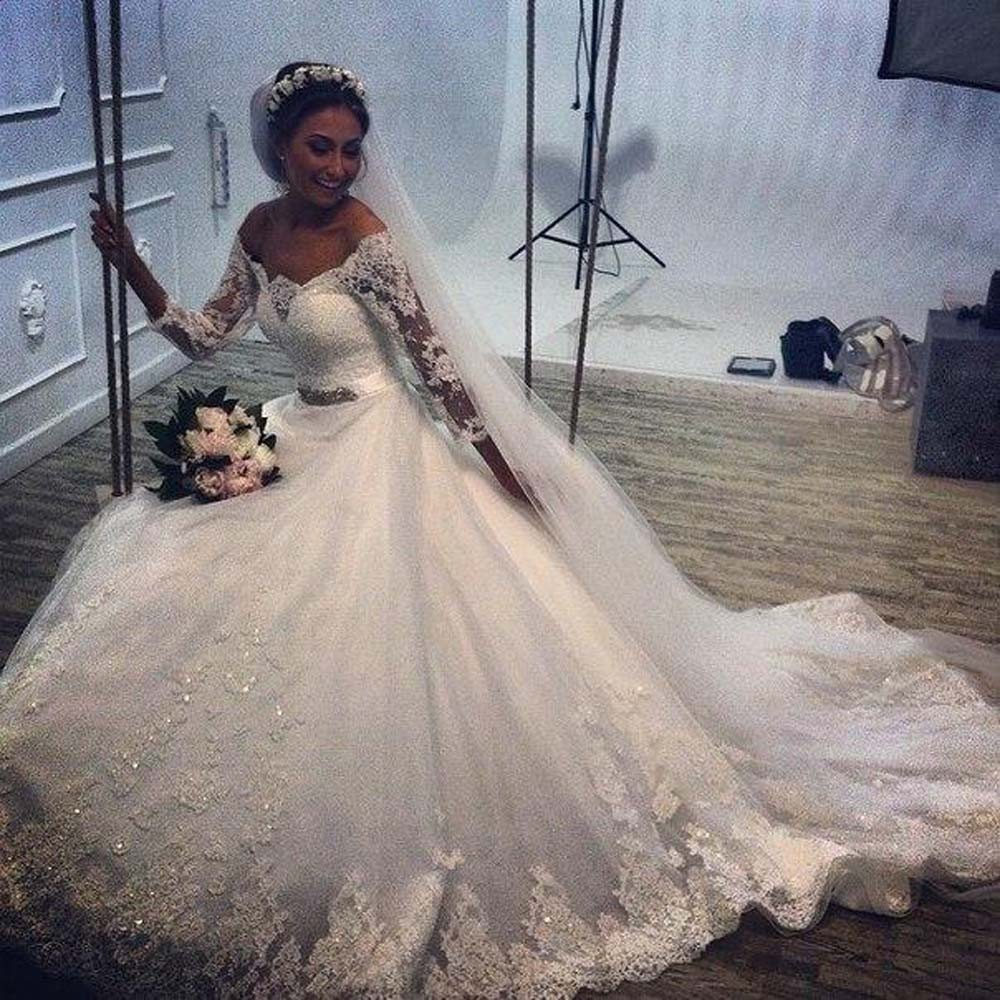 2016 Stunning Off Shoulder Wedding Dress Lace Appliqued Bride Dresses Long Train Half Sleeve In From Weddings Events On Aliexpress