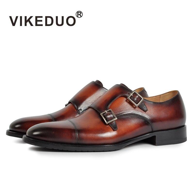 2018 Vikeduo Hot Handmade Custom Genuine Leather Shoes Party Wedding Dress Shoe Luxury Fashion Original Design Men Monk Shoes стоимость