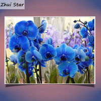 5D DIY Diamond Embroidery Flower Butterfly Orchid Icon Rhinestone ROUND Full Diamond Piainting Cross Stitchr Christmas