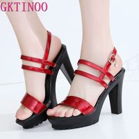 GKTINOO Big Size Shoes Women Sandals 2019 Gladiator High Heels Sandals Women Shoe Summer Leather sandalias rasteiras femininas