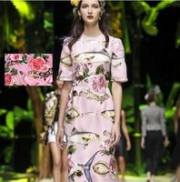 2017 New Fashion Hot Sale Rose Fish Pink Emulation Silk Satin Fabric For Dress Tissu Au