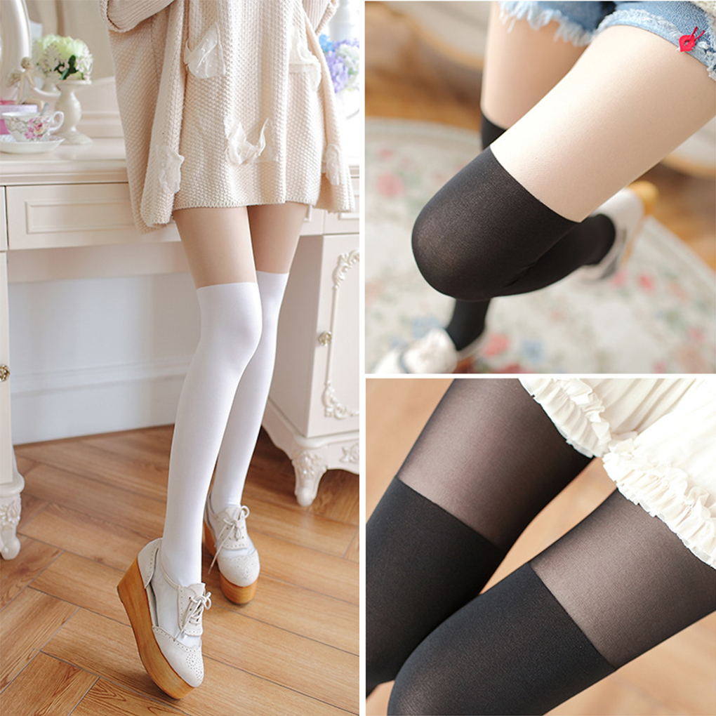 Women Girl Soft Velvet Long Stockings Elastic Splicing Stocking Pantyhose High Knee Tights Silk Hosiery Fashion