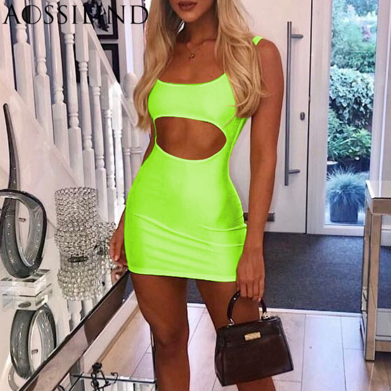 AOSSILIND Sexy Sleeveless Hollow Out Skinny Party Dress Spaghetti Strap Summer Fluorescent Green Mini Bodycon Club Wear Dresses