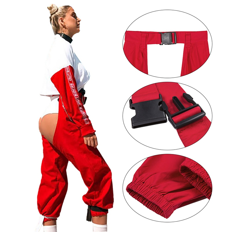 Fashion Loose Sexy Red Hip Hop Pants Ladies Open Trousers Punk Buckle High Waist Jogging Sweatpants