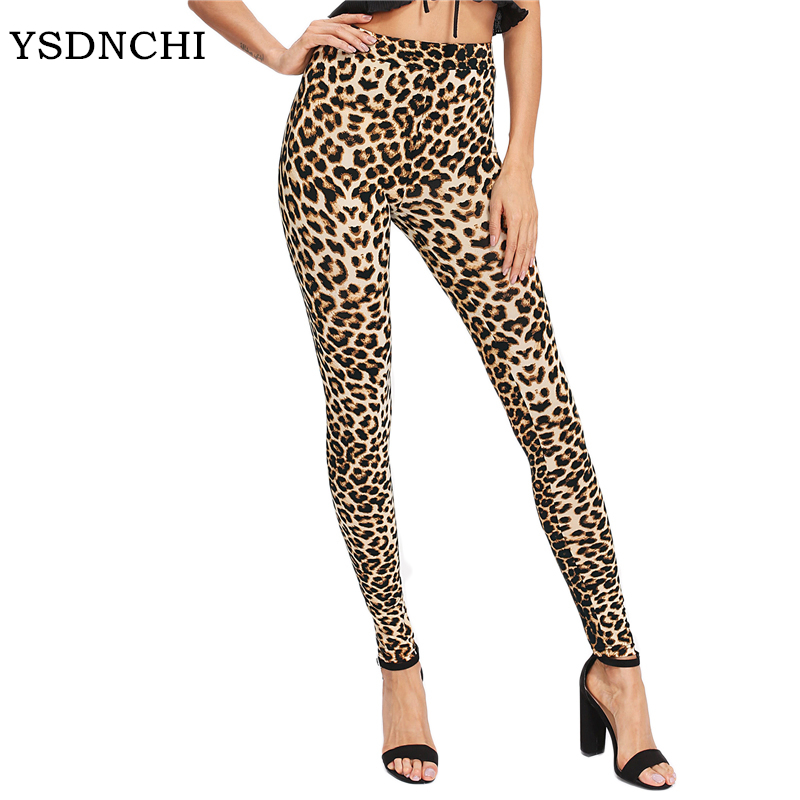 YSDNCHI 2019 Fashion Women   Leggings   Slim High Waist Elasticity   Leggings   Leopard Printing leggins Woman Pants Cotton   Leggings
