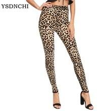 YSDNCHI 2019 Leggings de mujer de moda Slim de cintura alta elasticidad Leggings leopardo estampado leggins Mujer Pantalones Leggings de algodón