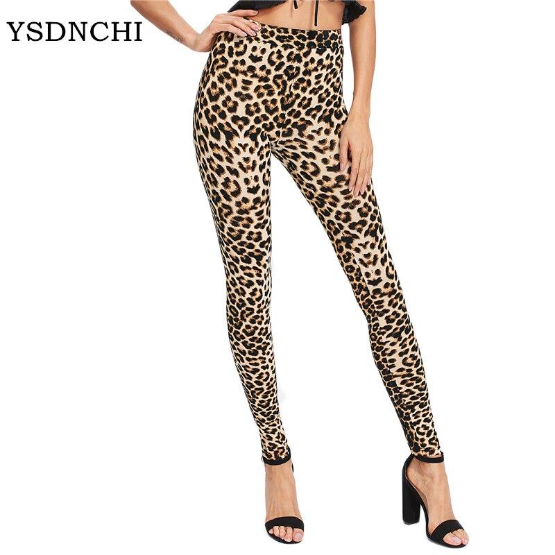 YSDNCHI 2020 Fashion Women Leggings Slim High Waist Elasticity Leggings Leopard Printing Leggins Woman Pants Cotton Leggings