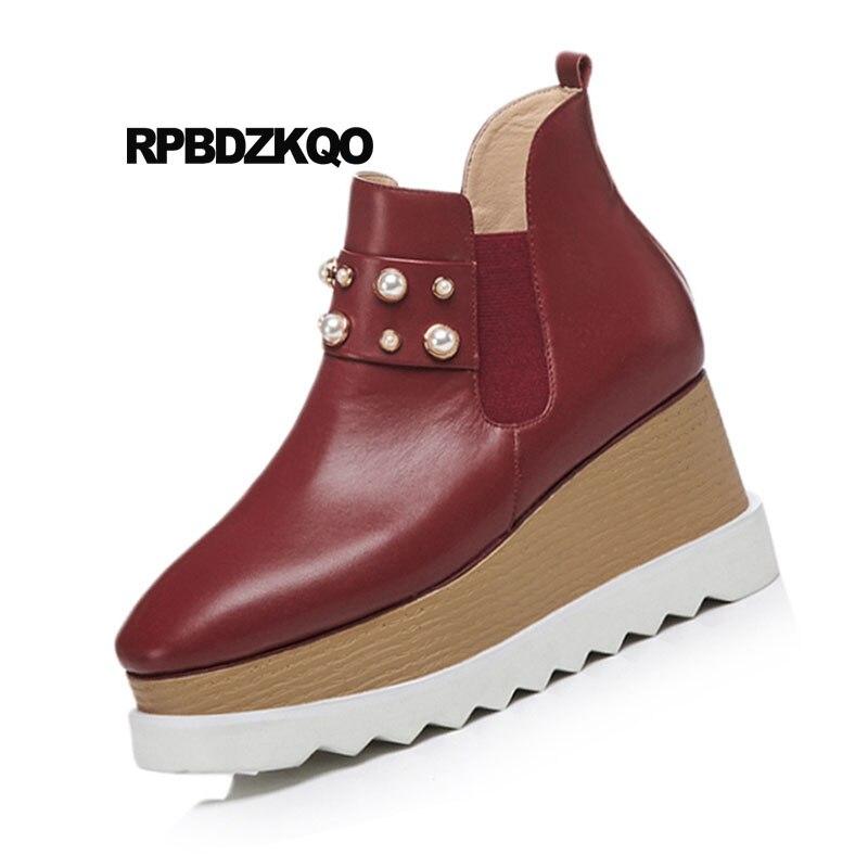 26e9a4652a628 D hiver Chelsea vin Talon Grande Chaussons On Bottes Haut Cuir En Rouge  Bout Wedge Chaussures Noir Muffin Perle Taille ...