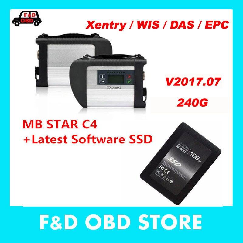 Цена за Высокое Качество MB SD подключения компактный 4 + SSD 240 г V2017.07 C4 звезда диагноз программное обеспечение Xentry Das WIS для benz автомобили Грузовики MB Star C4