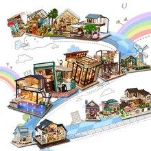 Кукольный домик Cutebee миниатюрная мебель кукольный домик Сделай Сам миниатюрные домики комната коробка театральные игрушки для детей Каса DIY кукольный домик A