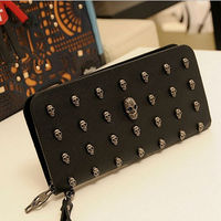 2017 New Arrivals Women Long Style Wallet Personalise Skulls Recreational Casual Carrying Bag Clutch Bag Card